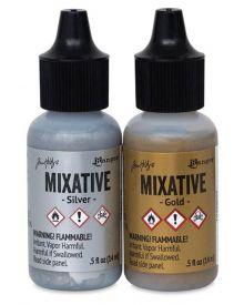Tim Holtz Metallic Mixatives Gold/Silver, 2-.5 oz