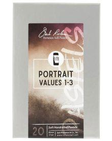 Richeson Hand Rolled Soft Pastel Portrait Values 1-3, 20 Piece Set