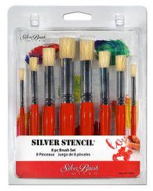 Silver Stencil Short Handle Brush, 8 Pc Set
