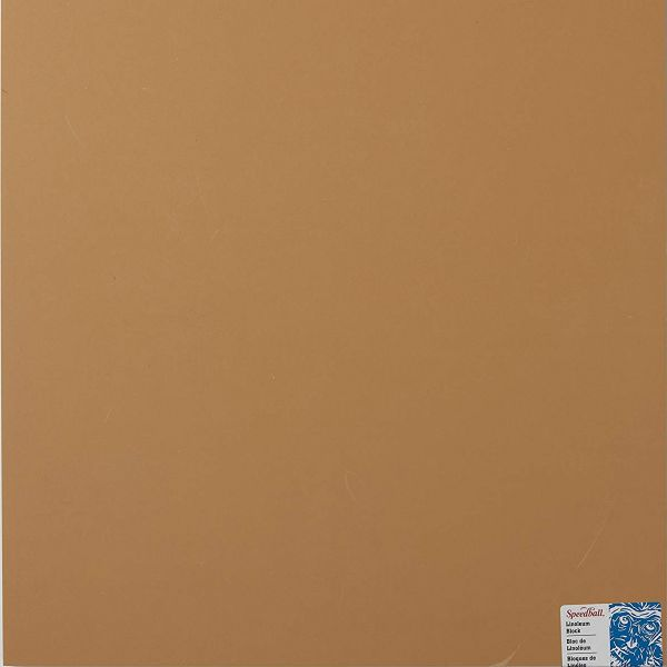 Speedball 4384 Unmounted Linoleum Block 6 x 8 Inches Flat Surface Easy Carving For Block Printing Tan