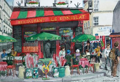 Cafe on Montmatre - Watercolour Painting